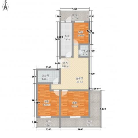 春怡园6号3室1厅2卫1厨132.00㎡户型图
