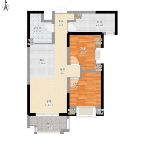 紫薇东进2室1厅1卫1厨89.00㎡户型图