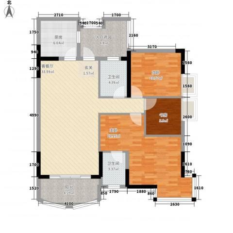 长安麒麟公馆3室1厅2卫1厨96.60㎡户型图