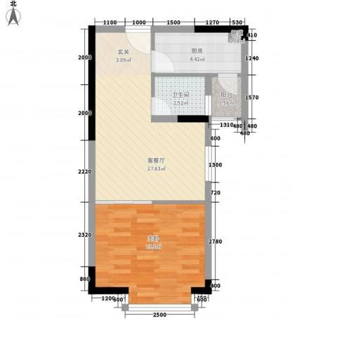 金田风华苑1室1厅1卫1厨57.00㎡户型图