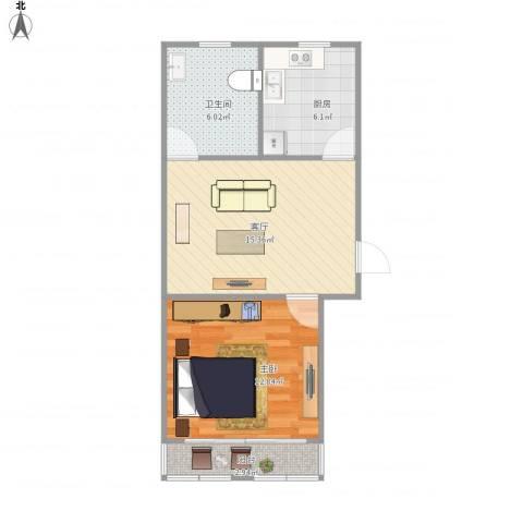 贝港南区1室1厅1卫1厨59.00㎡户型图