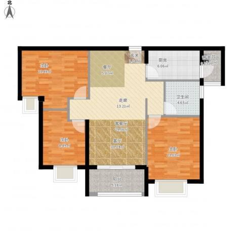 瑜翠园3室1厅1卫1厨116.00㎡户型图