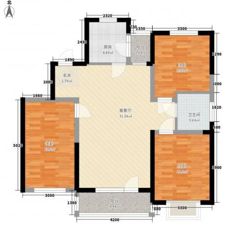 中国铁建梧桐苑3室1厅1卫1厨115.00㎡户型图