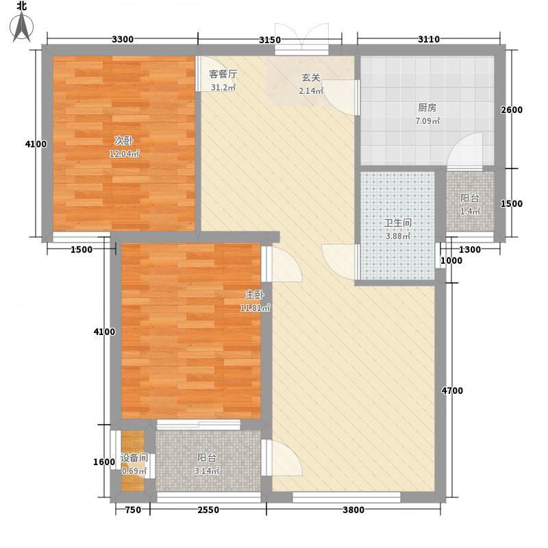 卫华65.00㎡小区户型2室
