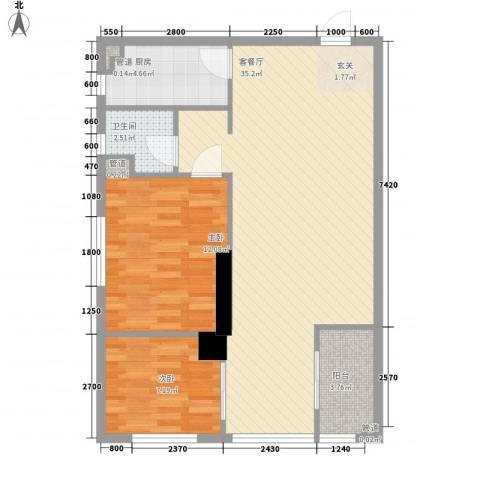海天广场2室1厅1卫1厨81.00㎡户型图