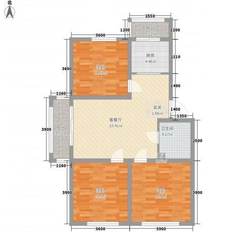 车城名仕家园A区3室1厅1卫1厨108.00㎡户型图