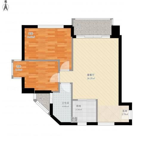 水厂宿舍楼2室1厅1卫1厨85.00㎡户型图