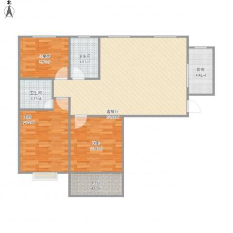 广泰瑞景城3室1厅2卫1厨111.00㎡户型图