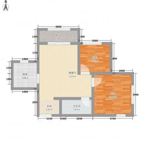 �林2室1厅1卫1厨80.00㎡户型图