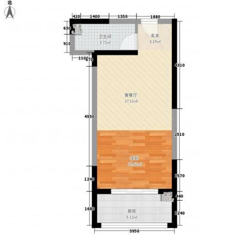 香缤公寓1厅1卫1厨52.00㎡户型图