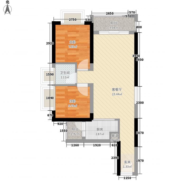 天润御海湾6.70㎡1号楼04户型2室2厅1卫1厨