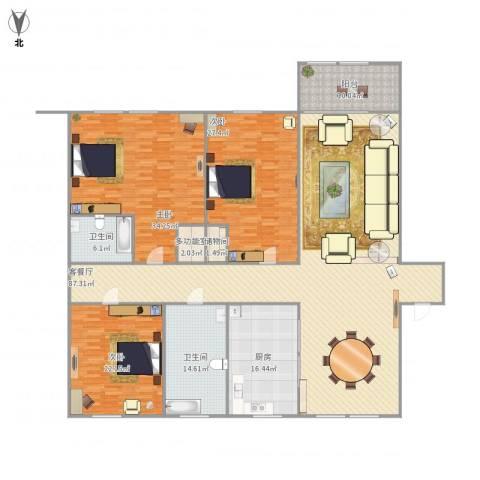 月雅苑3室1厅2卫1厨292.00㎡户型图