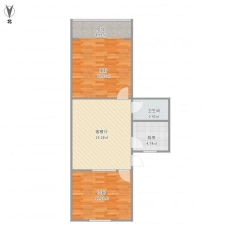 永康苑2室1厅1卫1厨82.00㎡户型图