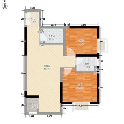 紫薇臻品2室1厅1卫1厨85.00㎡户型图