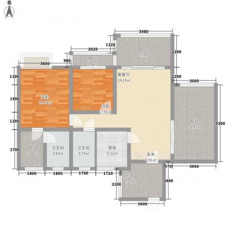 华泰苑2室1厅2卫1厨135.00㎡户型图