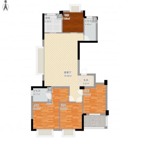 罗蒙环球城4室1厅2卫1厨147.00㎡户型图
