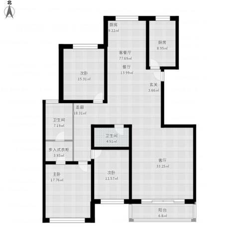 金花园3室1厅2卫1厨220.00㎡户型图