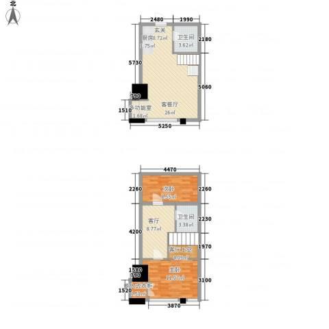 城市中坚2室2厅2卫0厨67.01㎡户型图