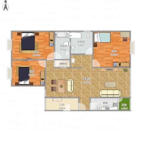 维多利亚公寓C13室1厅2卫1厨127.00㎡户型图