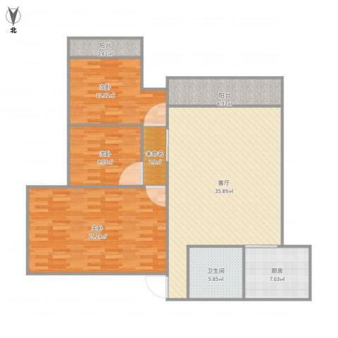 麒麟花园123户型3室1厅1卫1厨143.00㎡户型图