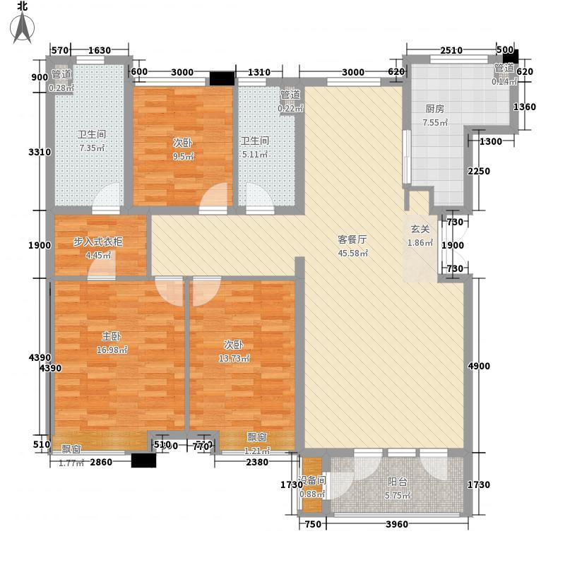 大连天地142.50㎡T12小高层户型3室2厅2卫1厨