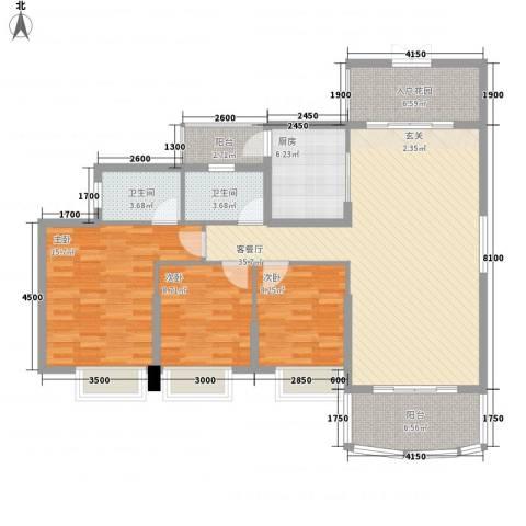 正和中州3室1厅2卫1厨131.00㎡户型图