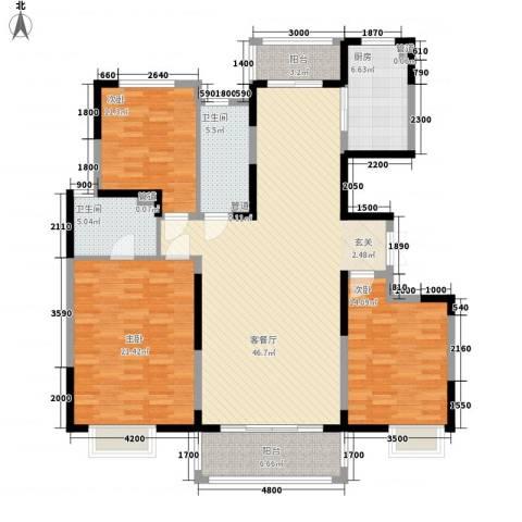 曲江中铁建国际城3室1厅2卫1厨162.00㎡户型图