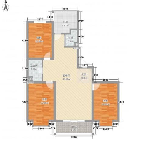 鑫丰华凯鑫城3室1厅2卫1厨120.00㎡户型图