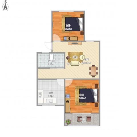 龙福花园2室1厅1卫1厨78.00㎡户型图