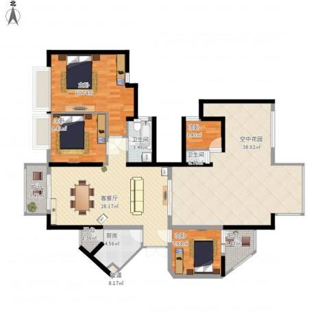 东方新世界4室1厅2卫1厨172.00㎡户型图