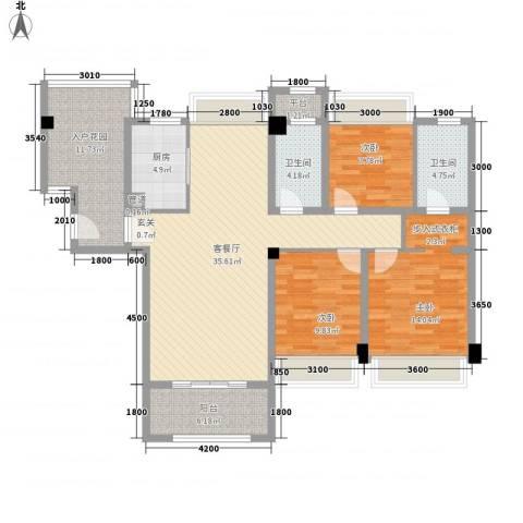 建发花园3室1厅2卫1厨145.00㎡户型图