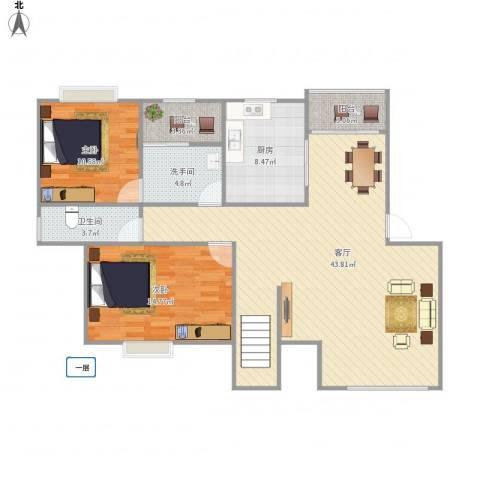 君悦城市花园2室1厅1卫1厨125.00㎡户型图
