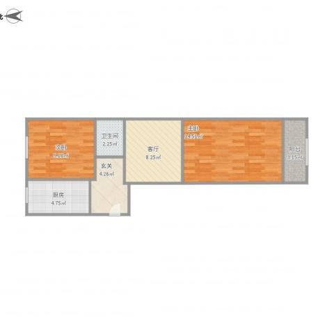 东八里庄北里2室1厅1卫1厨63.00㎡户型图