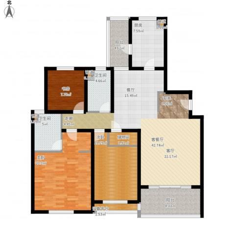 金湖湾花园3室1厅2卫1厨170.00㎡户型图