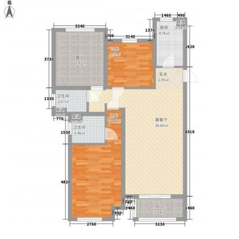 龙达新天地2室1厅2卫1厨93.00㎡户型图