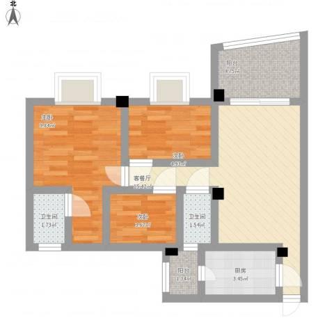 碧桂园荔园3室1厅2卫1厨72.00㎡户型图