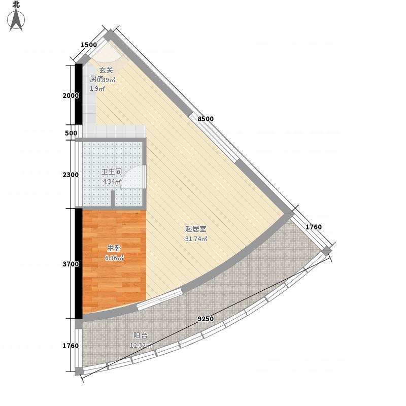 戴河龙湾68.22㎡零厅户型