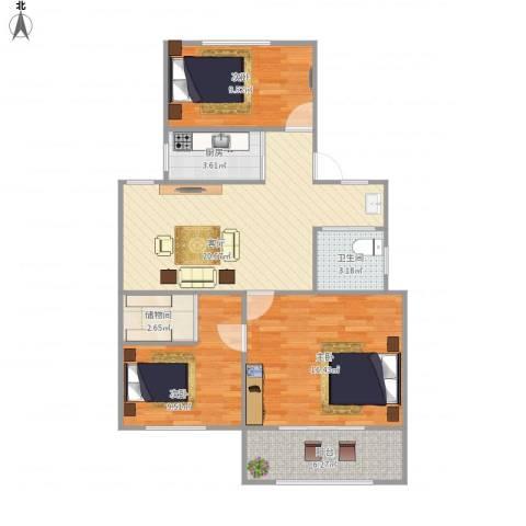 富康新村3室1厅1卫1厨98.00㎡户型图