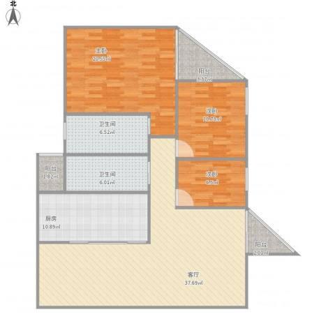 雍和花园3房3室1厅2卫1厨143.00㎡户型图