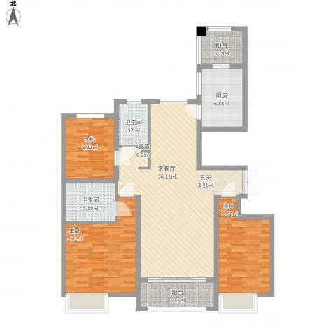 万达华府3室1厅2卫1厨138.00㎡户型图