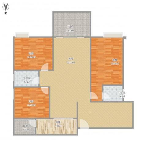 远洋城荣域3室1厅2卫1厨168.00㎡户型图