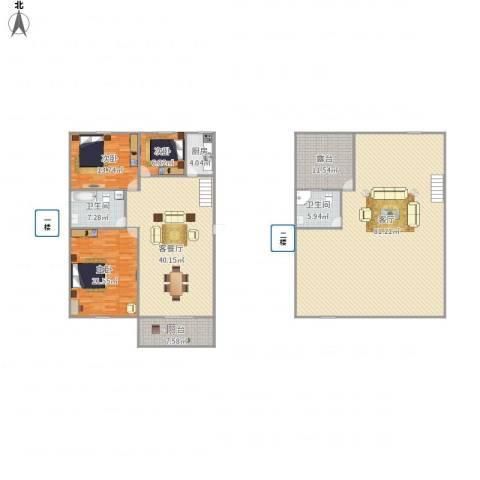 万家花园万和苑3室2厅2卫1厨262.00㎡户型图