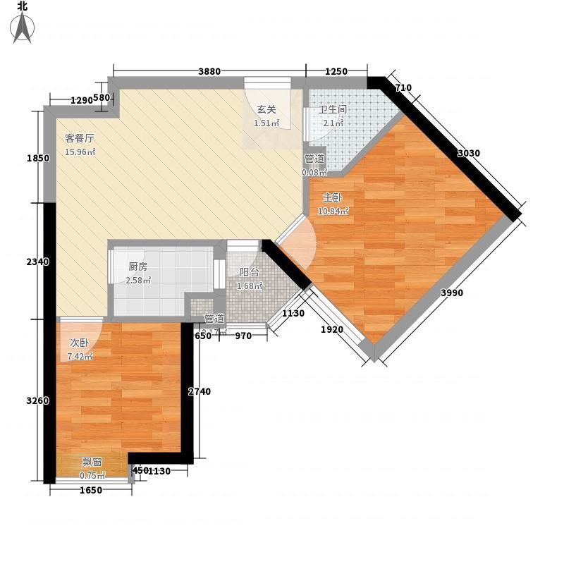 正弘数码公寓58.10㎡户型2室2厅1卫1厨