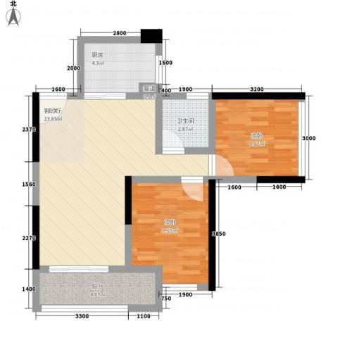 鸿翠阁2室1厅1卫1厨69.00㎡户型图