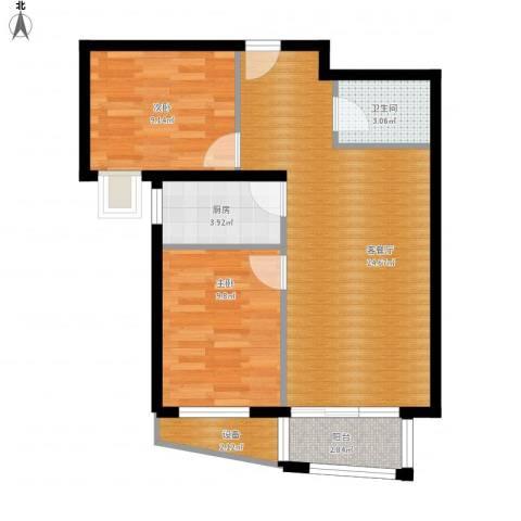 湾仔城2室1厅1卫1厨79.00㎡户型图