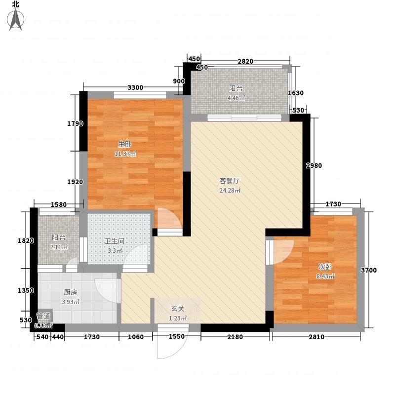 蓝溪谷地65.00㎡户型2室