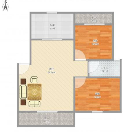 虹梅新苑一期2室1厅1卫1厨67.00㎡户型图