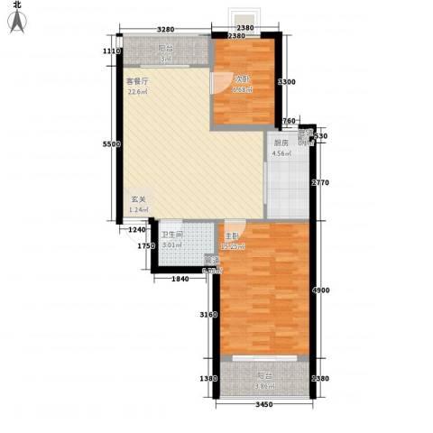 新天地购物城2室1厅1卫1厨84.00㎡户型图
