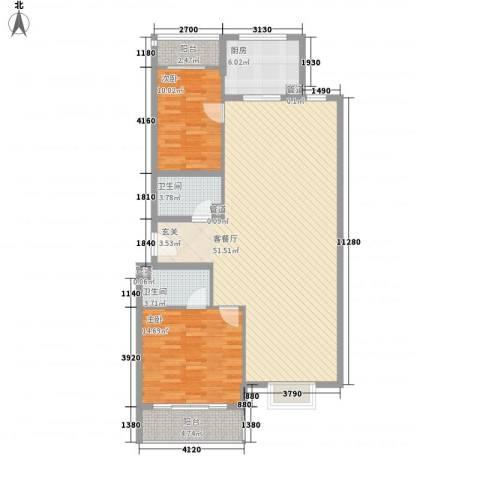 新天地购物城2室1厅2卫1厨136.00㎡户型图
