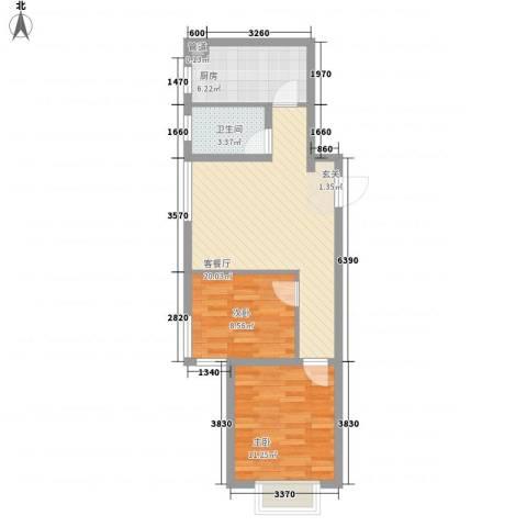 新天地购物城2室1厅1卫1厨71.00㎡户型图